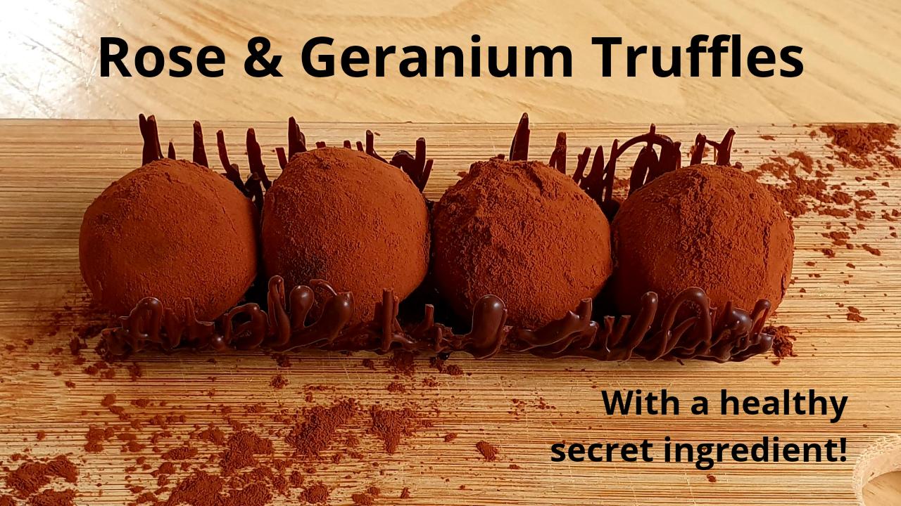 Rose Geranium Truffles Recipe With a hidden healthy Super-Food powder – Beetroot!